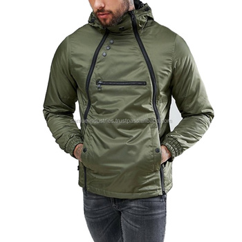 7f7982594 Cross Long Zip Front Bomber Jacket Olive Green Polyester Softshell Hooded  Jacket Zip Front Hooded Jacket - Buy Men Drop Shoulder Zip Front Bomber ...