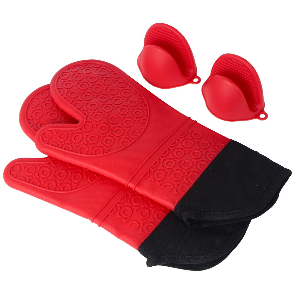 MADY Silicone Oven Mitts with Quilted Cotton Lining - Heat Resistant Kitchen Gloves, Matching Mini Oven Mitts(Black)