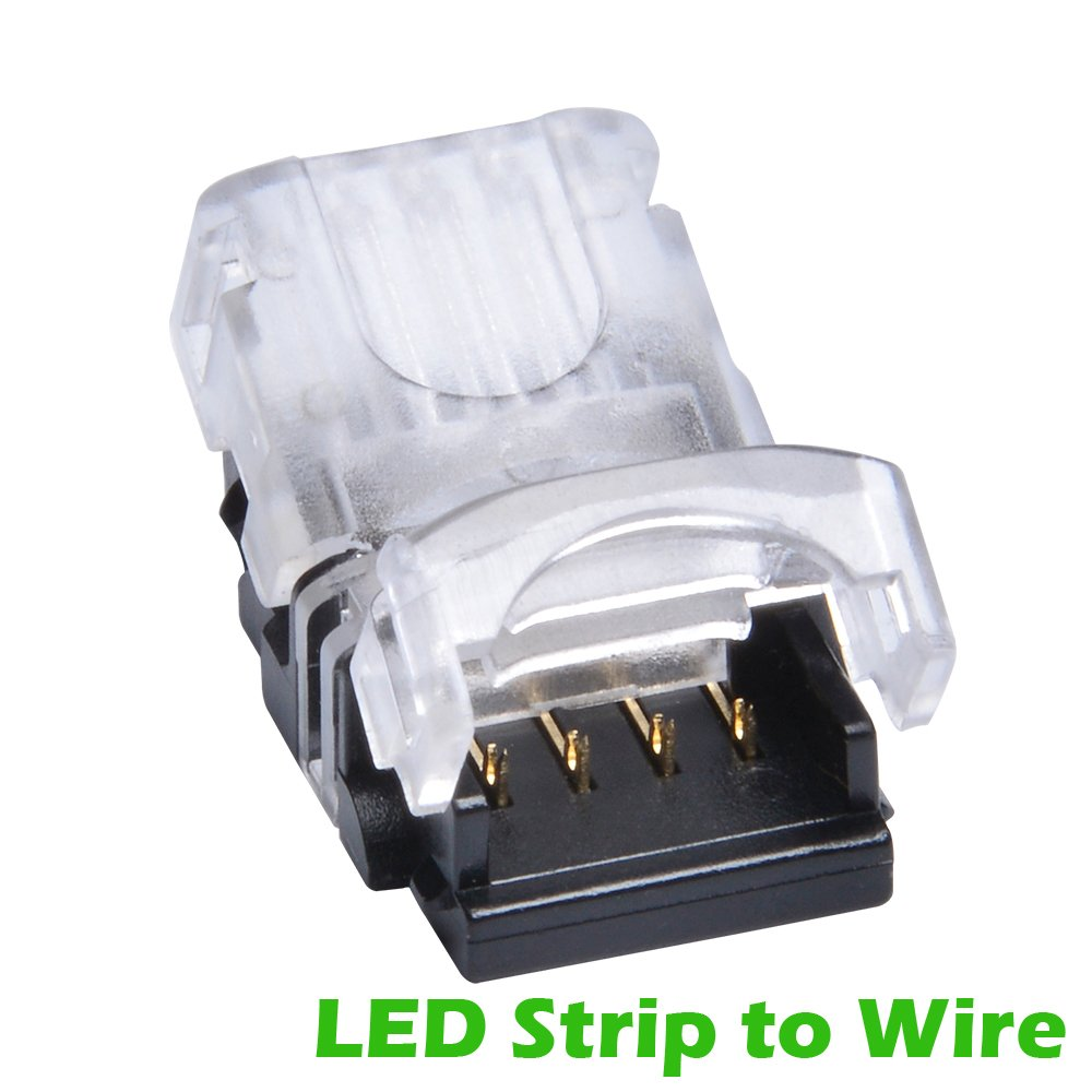 QIJIE 5050 RGB LED Strip Connector 4 Pin for Waterproof 10mm Flexible Tape Light, Board To Wire (22~20AWG), Applicable To Digital Strip WS2813, Terminal Only, No Wire Included, Pack of 10 PCS