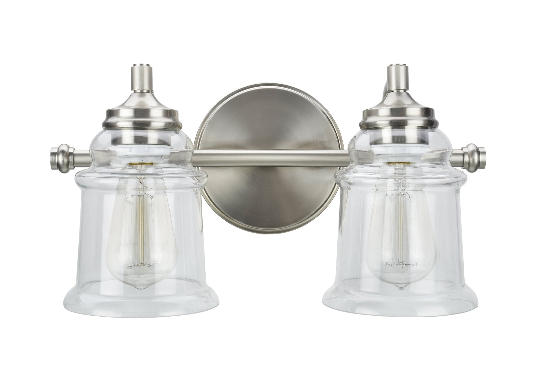 "Aspen Creative 62082, Two-Light Metal Bathroom Vanity Wall Light Fixture, 15 1/4"" Wide, Transitional Design in Brushed Nickel with Clear Glass Shade"
