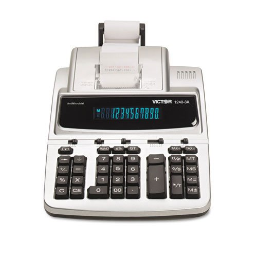 Victor : 1240-3A Antimicrobial Desktop Calculator, 12-Digit Fluorescent, 2-Color Printing -:- Sold as 2 Packs of - 1 - / - Total of 2 Each