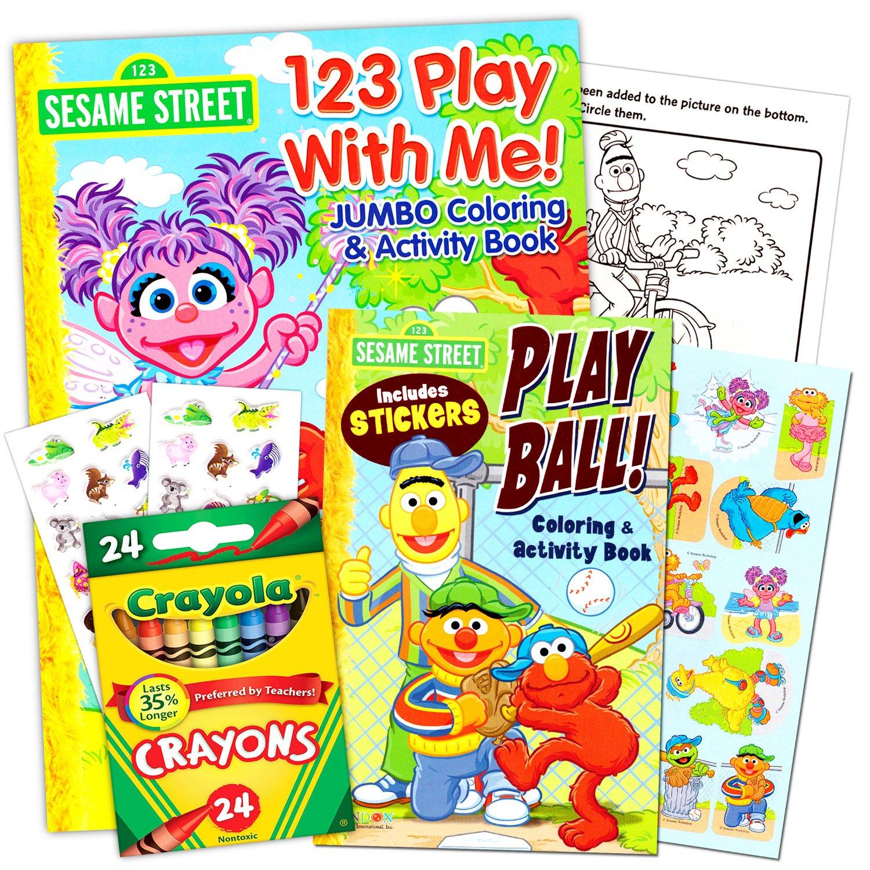 Buy Sesame Street Coloring Book Super Set with Sesame Street Crayons ...