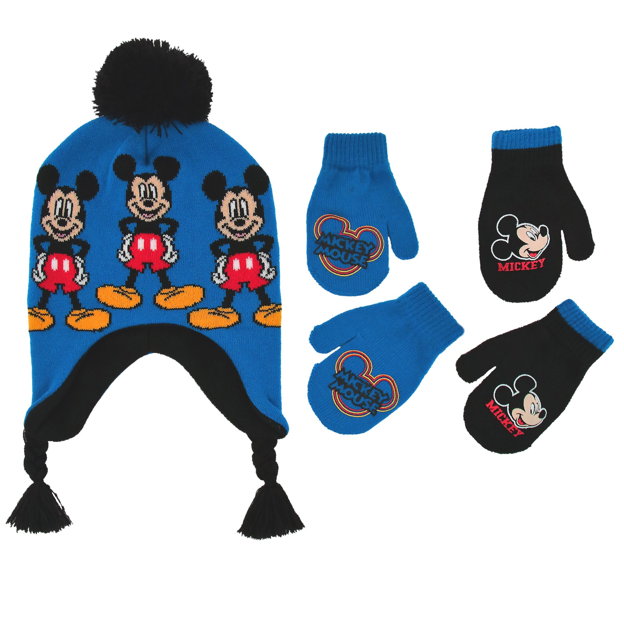 bcc7b21a5fb Get Quotations · Disney Little Boys Mickey Mouse Hat and 2 Pair Gloves or  Mittens Cold Weather Accessory Set