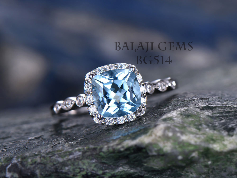 Natural Blue Topaz Stone Gemstone 925 Sterling Silver Ring Jewelry Wholesale