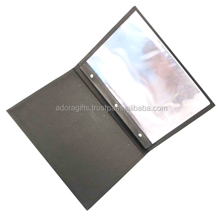 Hard Wood Leather Menu Cover With Multiple Plastic Panels Indside On Stock In India