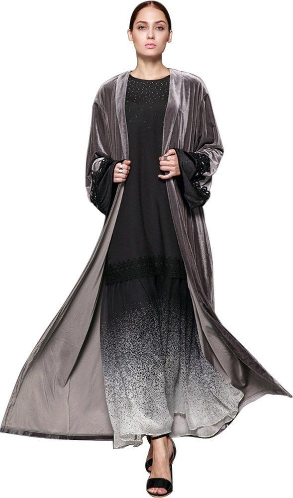 7439bd054c Get Quotations · YI HENG MEI Women s Elegant Modest Muslim Clothing Full  Length Open Front Lace Velvet Abaya Coat