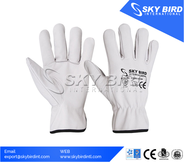 Safety Comfortable Goatskin White Leather Driving Gloves Labour Protection Glove