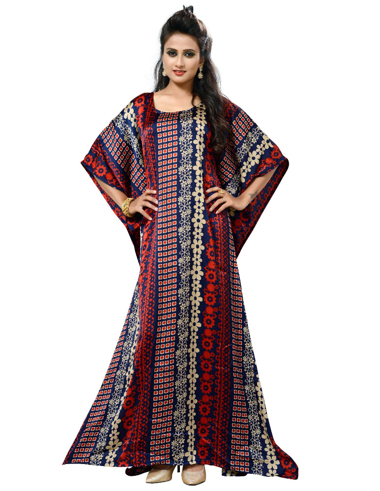 2017 India Etnische Slijtage Pritned Kaftans/Womens Casual Wear Lange Japan Satijn Zijde Kaftans/Beach Wear Kaftans