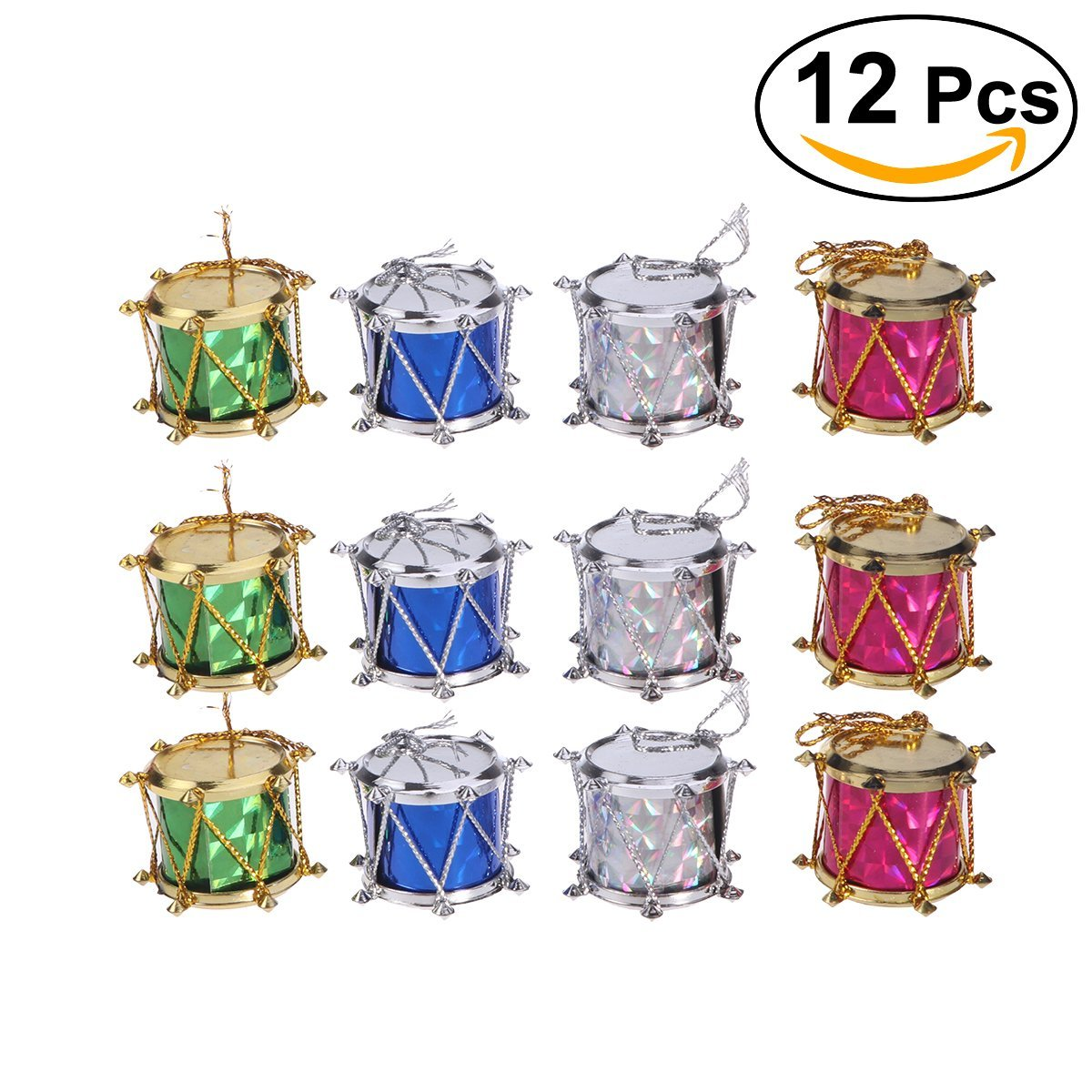 Tinksky Colorful Glitter Mini Drum Christmas Tree Ornaments Hanging Decoration Pendant Christmas Holiday Wedding Party Decor 12pcs (Assorted Color)