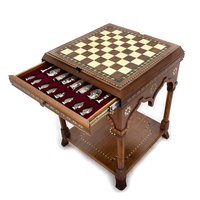 Cappadocia Chess and Backgammon Table with Drawers, Chess Table, Backgammon Table