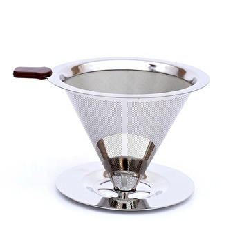 Pour Over Cone 3 cups Coffee Dripper Reusable Stainless Steel Coffee Filter Mesh with cup Stand