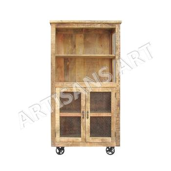 Rustic Industrial Metal Wood Bookcase With Rolling Wheels,Vintage Antique  Wooden Bookcase Cabinet For Living Room - Buy Industrial Cabinet,Vintage ...