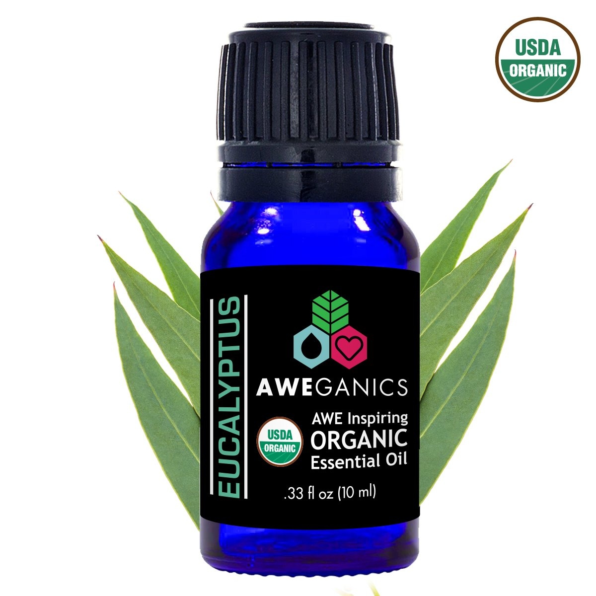 Aweganics Pure Eucalyptus Oil USDA Organic Essential Oils, 100% Pure Natural Premium Therapeutic-Grade, Best Aromatherapy Scented-Oils for Diffuser, Home, Office, Women, Men (10 ML) MSRP $14.99