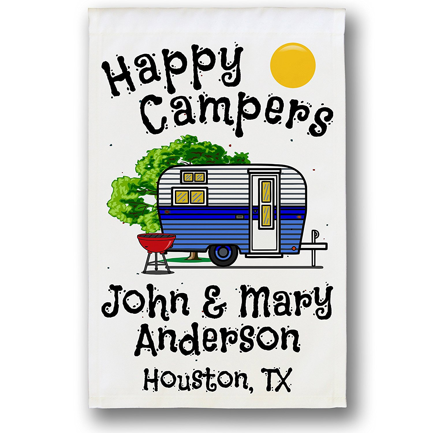Happy Campers Personalized Retro Camper Campsite Flag, Customize Your Way, Flag Only (Blue)