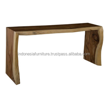 Suar Wood Furniture Waterfall Console Table View Antique
