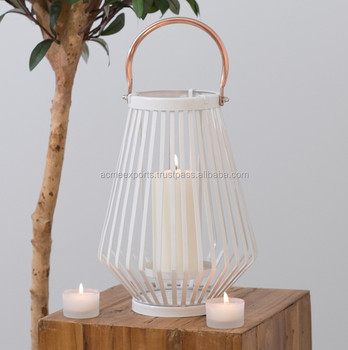 Copper handle White Metal Home Decor wire candle lantern made in India
