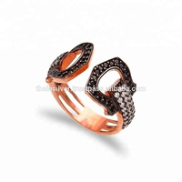 Turkish Wholesale Handcrafted Black&White Zircon 925 Sterling Silver Jewellery Ring