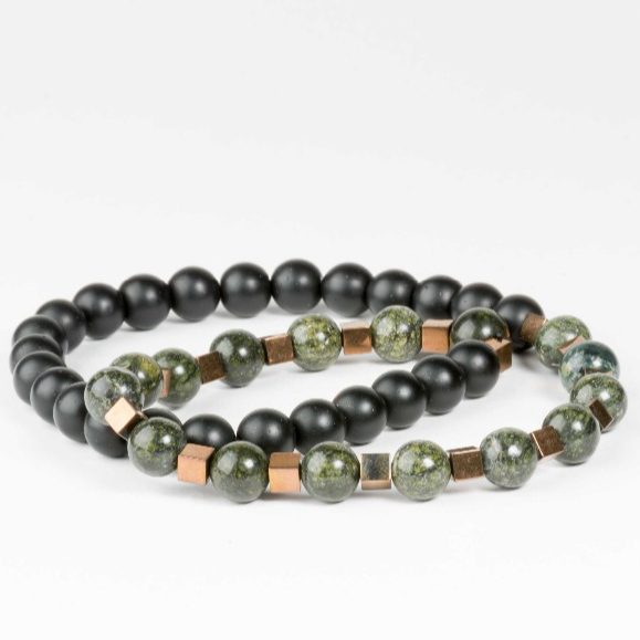 (High) 저 (Quality Best Price Stylish Men's 랩 페르시 Green 및 Black Bracelet 와 금 스페이서