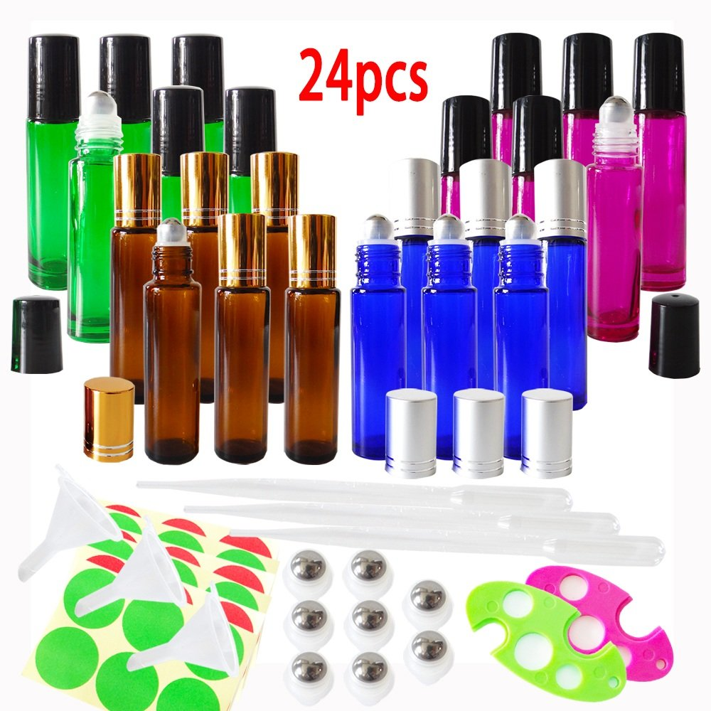 24 x 10ml (Amber+Blue+Rose Red+Green) Empty Glass Roll-on Bottles for Essential Oil w/free 3 x 5ml Droppers, 3x Mini Funnels, 2x Bottle Openers, Extra 8 Stainless Steel Roller balls, 36 Pieces Labels