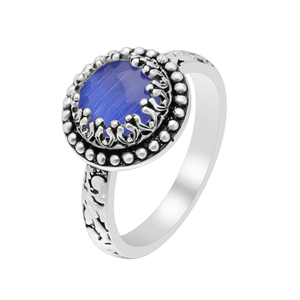 New arrivals men's wholesale silver ring Blue sky round design men jewelry wedding ring