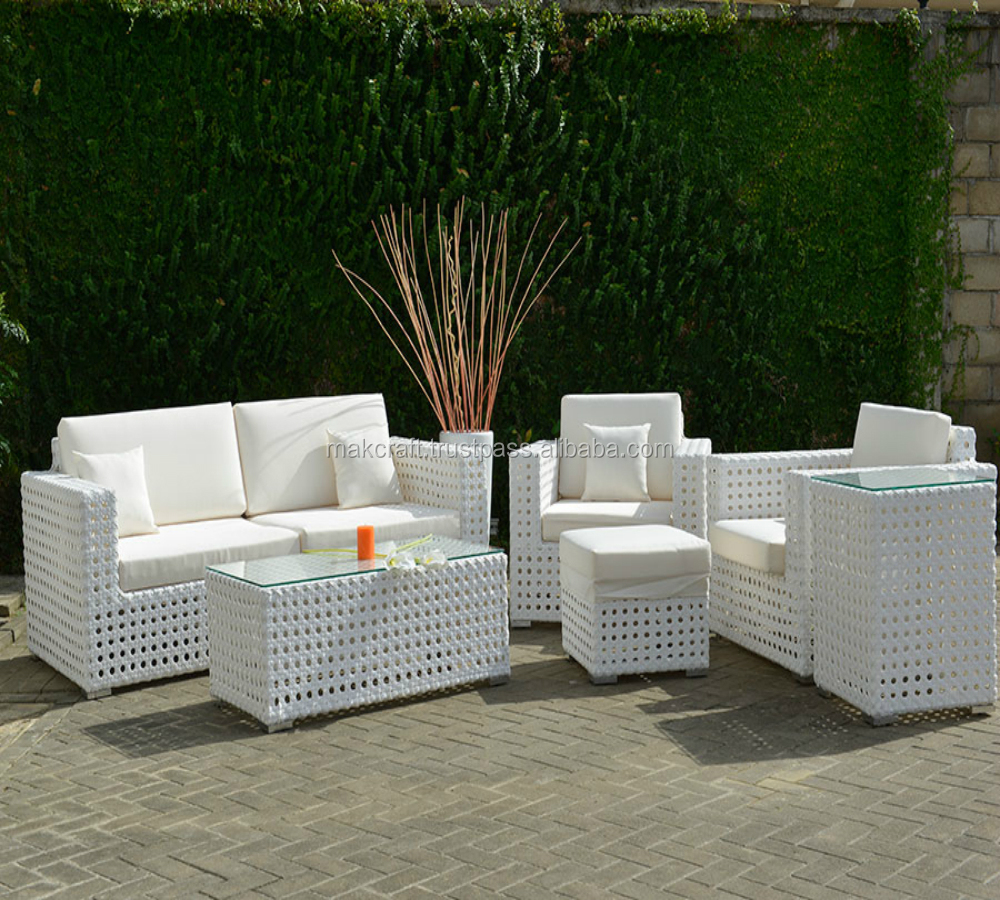 White Wicker Rattan Garden Sofa Set Outdoor Furniture Patio Pe