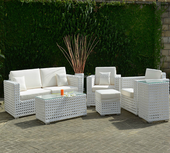 White Wicker Rattan Garden Sofa Set