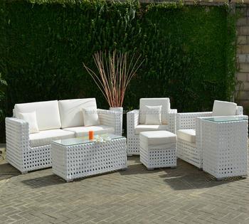White Wicker Rattan Garden Sofa Set Outdoor Furniture Patio Pe