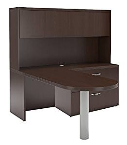 "Mayline L-Shaped Peninsula Desk W/Hutch Overall Dimensions: 72""W X 84""D X 68.5""H 1 5/8"" Thick Work Surfaces Perfect Desk For Home Office/Small Business - Mocha"