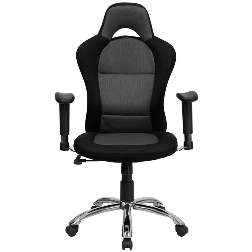 "Roosevelt Computer Chair in Mesh Fabric with Headrest Black & Gray Mesh Fabric Seat & Back/Chrome Metal Base Dimensions: 28.75""W x 24""D x 45.25-48.75""H Seat Dimensions: 20.50""Wx18.25""D"
