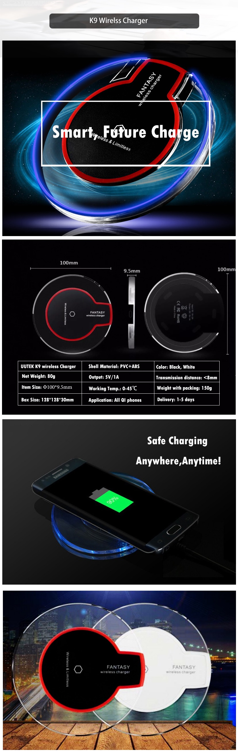 K9 Universal Crystal Qi Wireless Charger With LED Light  Mobile Phone Wireless Charging UUTEK