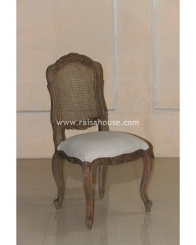 French Furniture Indonesia - Canned XV Louis Rattan Back Uph Seat Jepara Furniture