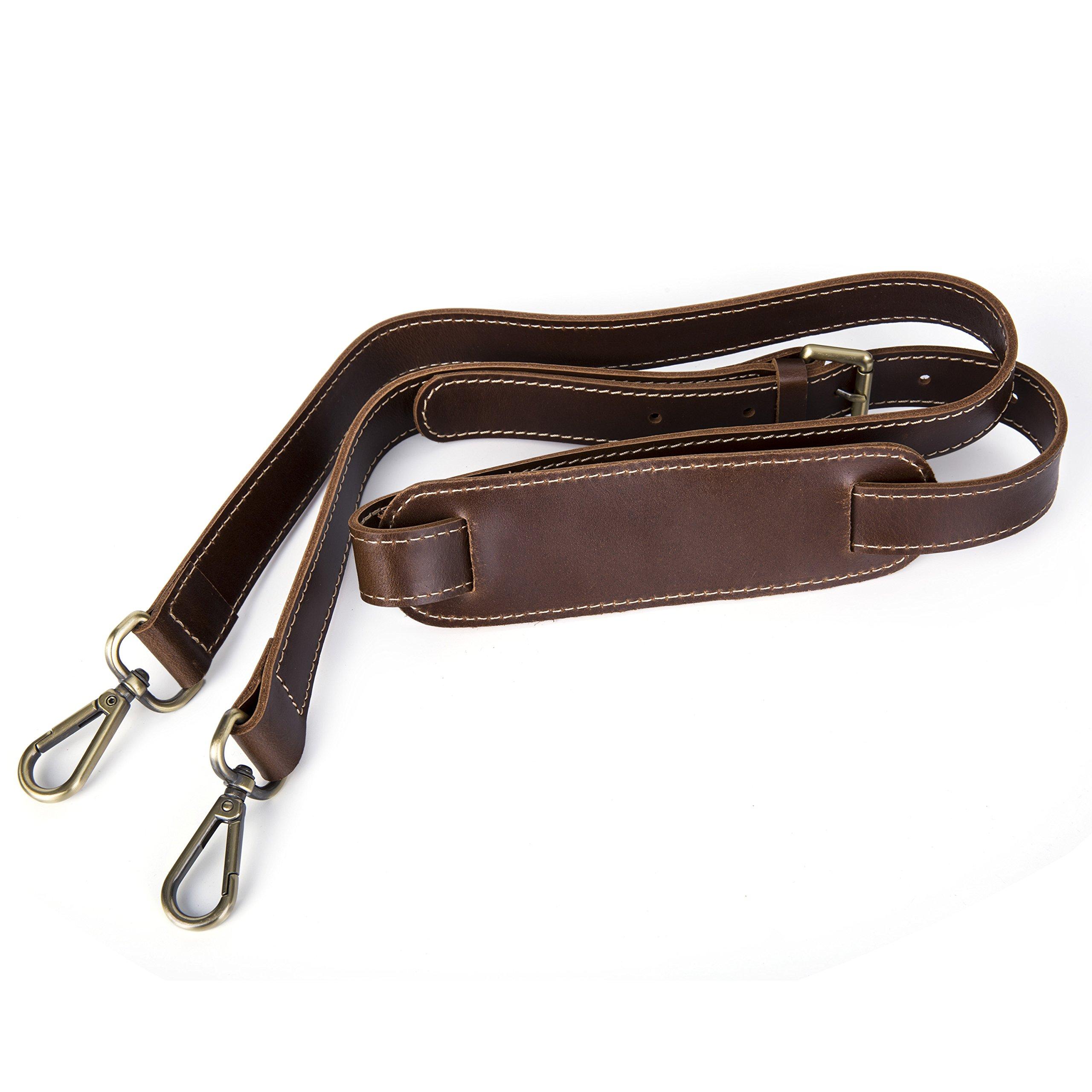 Leather Shoulder Strap BOMKEE 61 Inch Universal Replacement Adjustable with Metal Swivel Hooks for Shoulder Crossbody Bag Briefcase Messenger Bag Wallet Purse Shoulder Bag Handbag Straps Brown