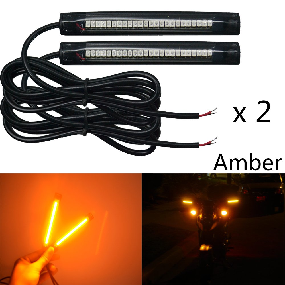 NBWDY 2 x 10cm 24led pvc strip Universal Motorcycle Bike Amber LED Turn Signal Indicator Blinker Light 12v