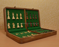 Traveling Hand Made Magnetic Staunton Chess Set Shesham Wood 16 x 16 Inches from India