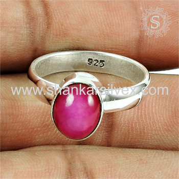 Glowing pink ruby gemstone ring silver jewellery handmade 925 sterling silver wholesale jewelry online