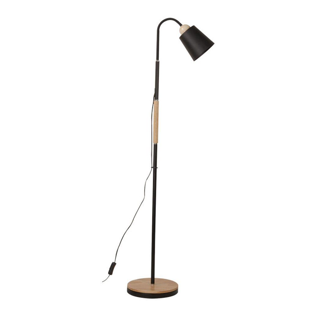 Edge To Floor lamp Simple Floor Lamp Bedroom Modern Living Room Floor Lamp Creative Vertical Lamp Solid Wood Study Lamp Nordic Bedside Floor Lamp (Color : Black)