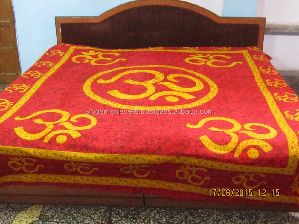 Om Print Red Color Sanganeri Bed Spread