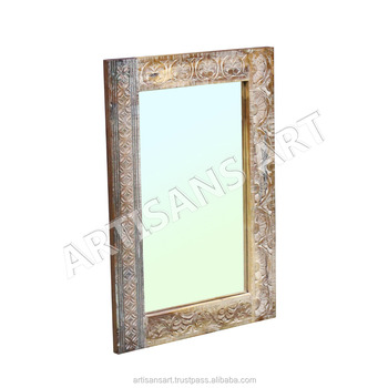 Solid Wood Carving Mirror Hand Carved White Distressed Antique Frames Decorative