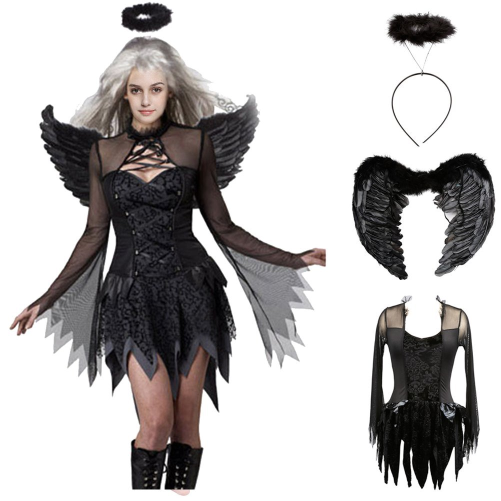 Ladies Black Real Feather Halloween Dark Fallen Angel Wings Fancy Dress Costume