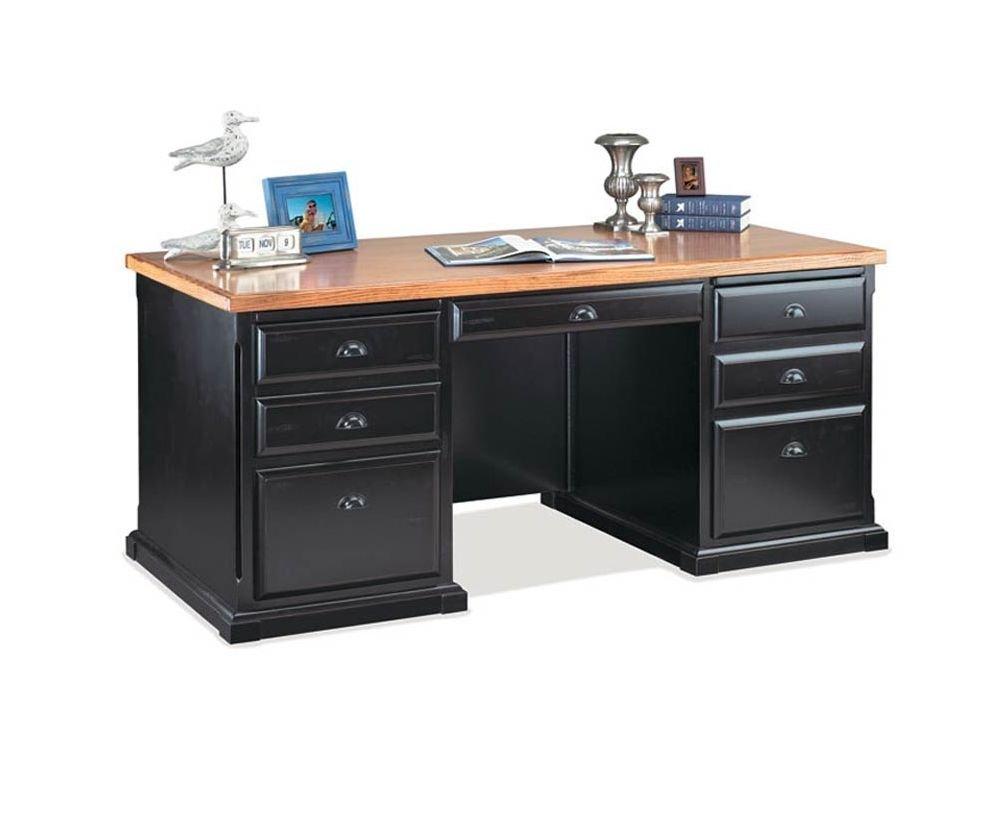 "Southampton Onyx Executive Desk Medium Oak Top/Southampton Black Onyx Dimensions: 68.25""W x 32""D x 30""H Weight: 367 lbs."