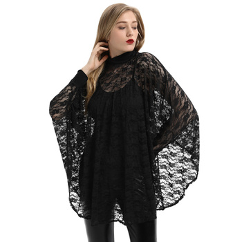 SD Women Gothic Batwing Sleeve Stand Collar Irregular Hem See-Through Black Lace Tops SL000040