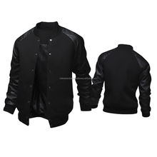 New Arrival Fancy Style Men's cotton Varisty jacket with leather sleeve