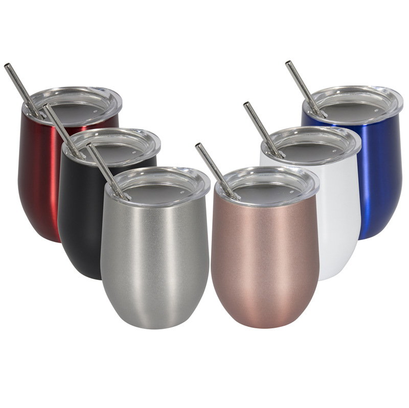 12oz Spill Proof Vacuum Insulated Stemless 18/8 Stainless Steel Stemless Wine Glass Tumbler for Hot or Cold Drinks фото