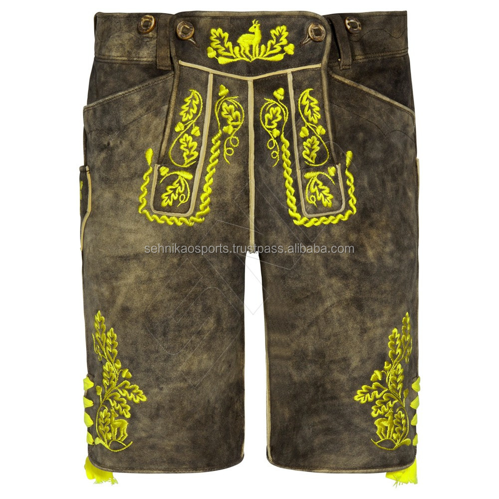 Oktoberfest LEDERHOSEN Suede Leather Bavarian Shorts with Matching Suspenders