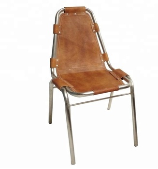 Vintage Metal Leather Restaurant Chair Iron