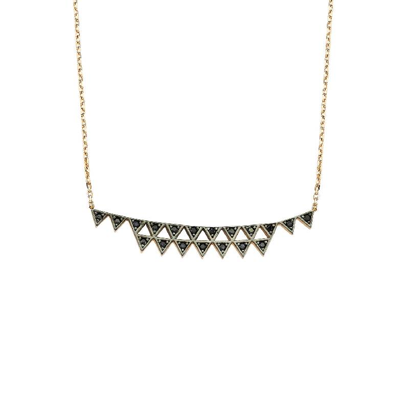14k gold small triangels black zircon necklace