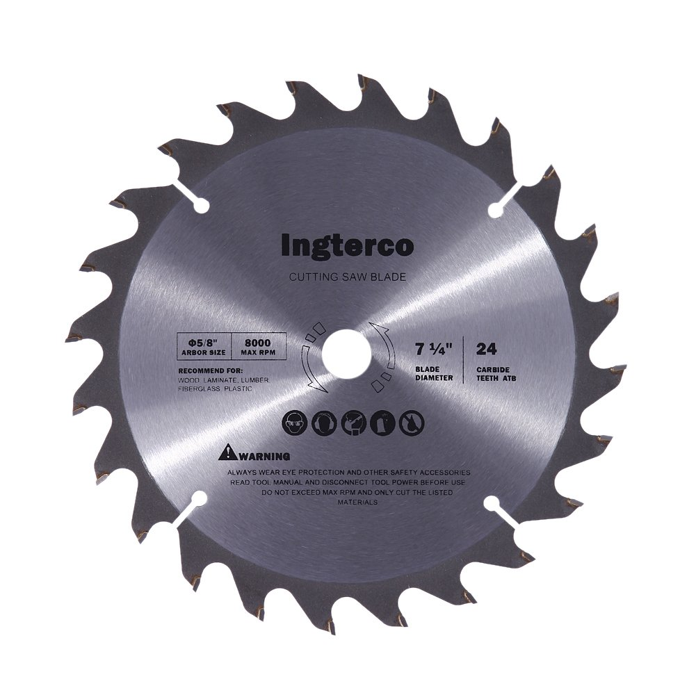 INGTERCO 7-1/4-Inch 24-Tooth ATB Thin Kerf General Purpose Woodworking Saw Blade with 5/8-Inch Arbor