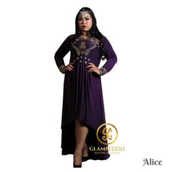 #GKCcatalog GKC Alice Hi LO Purple Gold Beads African Abaya Dubai Moroccan Kaftan Dress from Supplier Indonesia