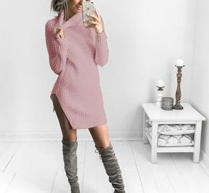 Fashion design long sleeve mock neck fitted tight sweater dress for women with slit