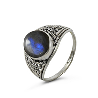 Fine bezel natural gemstone rings 925 sterling silver blue stone silver rings wholesale jewelry 925 silver hallmark rings